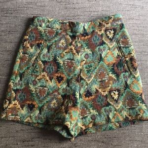 Zara tapestry high waist shorts pockets S